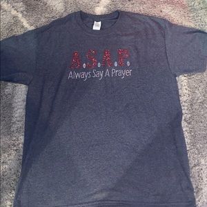 Always say a prayer (a.s.a.p) bedazzled grey shirt
